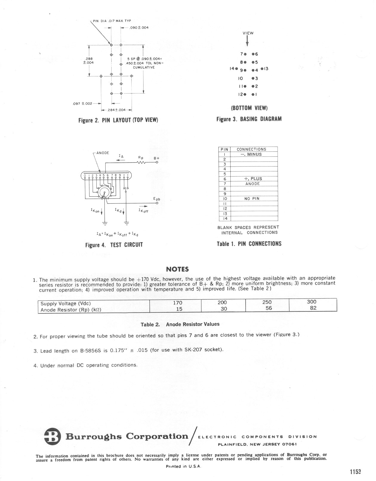 Nixie Tube Data From Cathode Corner Schematic Page 1 Burroughs B 5859 Sheet
